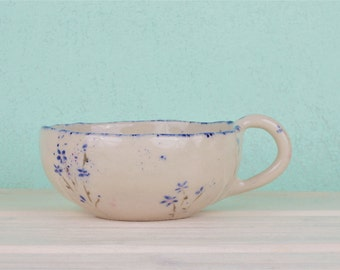 Cup with floral pattern-mug floral-Romantic cup floral-cup country house style-blue and pink flower production on order