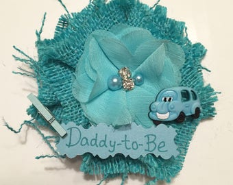 Baby Shower Corsage/ Teal Bus Daddy-to-Be Baby Shower Corsage/ Dad-to-Be Baby Shower Pin