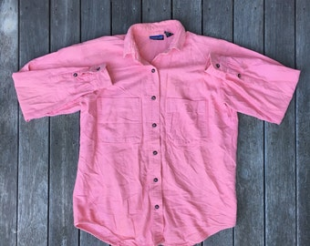 Vintage 90's Patagonia Pastel Pink Cotton Women's Button Up Shirt Retro Hip Hop Streetwear Patagonia Outerwear Shirt Small Pink Hiking Shirt