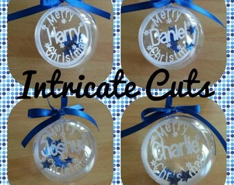 4 Personalised Christmas tree bauble decoration paper cut filled with sequin stars or hearts, personalized bauble, baby's 1st christmas