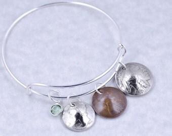 90th Birthday Gift - 1928 Mercury Dime Buffalo Nickel Penny Coin Birthstone Bangle Bracelet Jewelry - Birthday Gift for Grandma - Mother