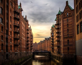 Archival Giclee Print of Hamburg, Sunset/Canal/River/Travel/European City/Skyline/German Photography