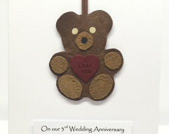 3rd Anniversary Card Gift - Distressed Leather Teddy Bear Detachable Gift Card Him Her Husband Wife Wedding Anniversary Gift