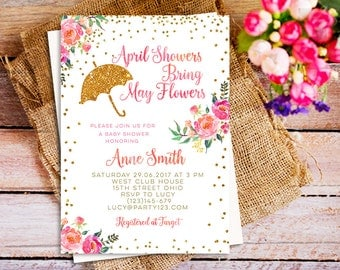 April Showers Bring May Flowers Baby Shower Invitation Printable, Confetti Custom Invitations, spring party themes invitations, showers