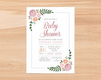 Floral Baby Girl Baby Shower Invitation Set/Baby Girl Shower/Flowers/Custom/Digital Download/Cupcake Toppers/Diaper Raffle/Books for Baby
