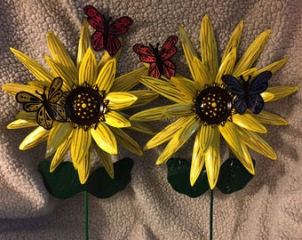 Upcycled Aluminum Can Sunflowers (Set of 2)
