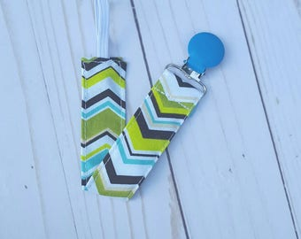 Pacifier Clip for Boy- blue and green chevron universal pacifier holder, paci clip, paci holder, baby shower gift, baby accessories, B3G1
