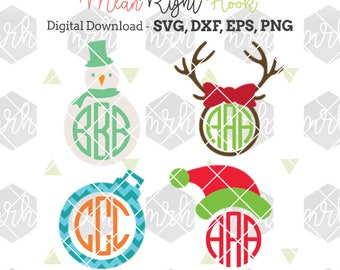 Christmas Monogram SVG, Winter svg, Holiday svg INSTANT DOWNLOAD vectors for cutting machines - svg, png, dxf, eps - monograms not incl.