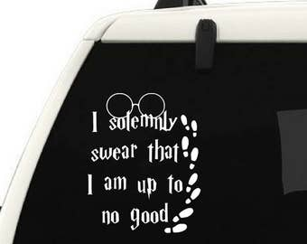 I solemnly swear I am up to no good Harry Potter car vinyl decal Sticker quote, Yeti cup vinyl decal, Harry potter Yeti decal footprints