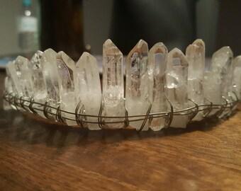 Clear Quartz Crown, Moon Headpiece, Festival Hair Crown, Witch Queen Crown, Goddess Crown, Crystal Crown, Quartz Wedding Crown, Tiara