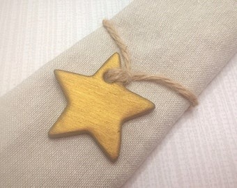 Gold wedding favours, gold stars, wedding decor, star tags, clay tags, gift tags, wedding favors, napkin rings.
