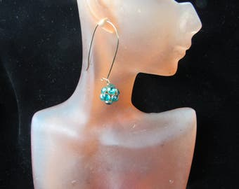 Vintage Pair Of Long Goldone Green Rhinestone Balled Pierced Dangle Earrings