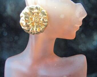 Vintage Pair Of Chunky Goldtone Pierced Floral Earrings