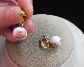 Vintage Pair Of Hand Painted Floral Glass Beaded Clip Dangle Earrings