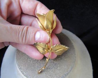 Vintage Large Goldtone Rose Pin