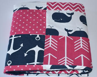 75% OFF SALE  - Navy and Fuchsia Pink Whales Patchwork Blanket, Girl Nursery, whales, nursery, navy, fuchsia