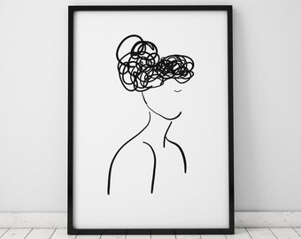 Female Silhouette Illustration INSTANT DOWNLOAD Art, Illustration Printable, Minimalist, Minimalist Art, Feminist Art, Black and White Print