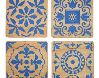 Vintage Tile Coasters | Laser Cut | Made in Maine