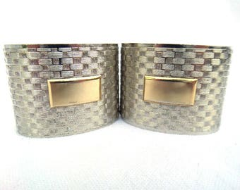 FREE SHIPPING Napkin Rings, Silver Tone White Metal, Gold Tone Blank Cartouche, Weave Design, One Pair - Set of 2, Circa 1960