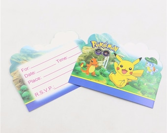 10ct Pokemon go INVITATIONS Pikachu balloons party decoration table cover banner flag cupcake toppers