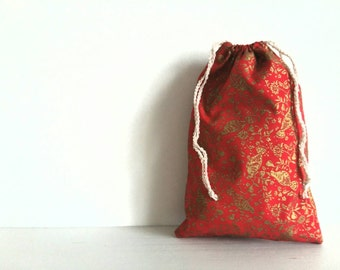 Drawstring cotton gift bag - fabric red print with gold birds and floral