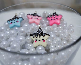 Drippy Chocolate Star Pendent in a variety of colors - So Kawaii !! J-fashion Decora Lolita Fairy Kei