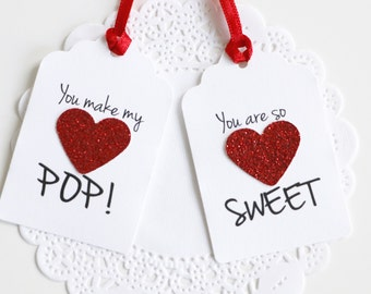 Valentine's Day Tags, St Valentines School Favor Tags, Glitter Heart Tags, Gift for Boyfriend, Gift for Girlfriend