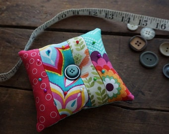 Large Pincushion in Turquoise, Hot Pink, Green, Flowers, Dots,  Prints with Vintage Button Trim, Sewing Gift, Seamstress Gift