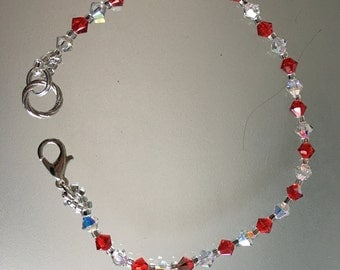 Swarovski Crystal Bracelet. Siam Red and Clear Crystals. Handmade Swarovski Bracelet
