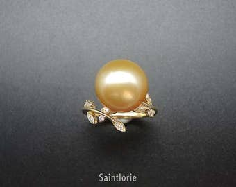 12-13mm Golden Pearl Engagement Ring