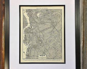 Vintage Map of Brooklyn, New York, Original 1940 Atlas Page, Brooklyn Map, New York City Map, Street Map