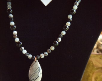 Black and Gray Silkstone necklace, with smoky gray and black agate with Black Glass beads