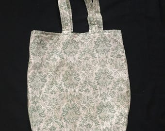 Floral green reversible tote
