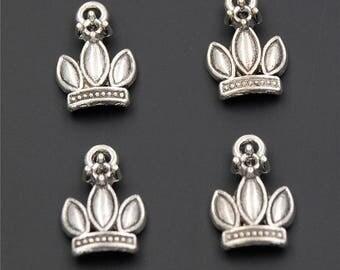 30pcs Antique Silver Crown Charms Pendant A2304