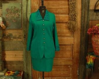 CLEARANCE vintage 1980s green dropwaist suit dress S