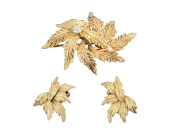 F.F. Felger 14k Gold and Diamond Acanthus Leaf Demi Parure Set Brooch & Earrings