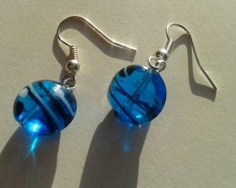Two Tone Pressed Oval Earrings in Sea Blue