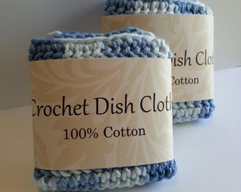Crochet dishcloth, Crochet wash cloth, Blue dishcloth, 100% cotton, Set of 2