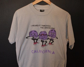 I Heard It Through The Grapevine California Raisins 1980's Vintage Tshirt