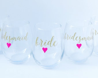 Bridesmaid Gifts on a Budget, Personalized Wine Glasses for the Bride and Bridesmaids -Will You Be My Bridesmaid - Bridal Party Gift Ideas