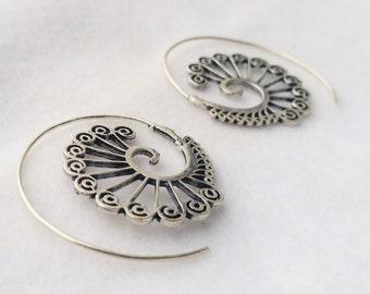 Silver Spiral Earrings, Silver Earrings, Earrings, Boho Earrings, Tribal Jewellery, Ethnic Jewellery, Silver Jewellery