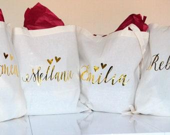 Set of 5 Cream Bridesmaid tote, personalised tote, wedding gift, bridesmaid gift, Will you be my bridesmaid.