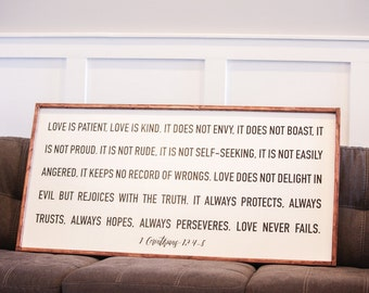 Love is Patient, Love is Kind - 1 Corinthians - Wood Sign