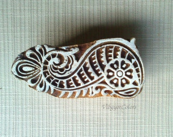 peacock wood stamp Indian block printing wooden printing block textile pottery stamp hand carved