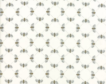 1/2 yd Bee Inspired Bumble Bee Lattice by Deb Stain for Moda Fabrics 19796 17