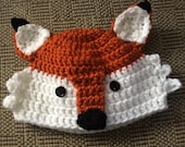 Baby Fox Crochet Hat,Baby Photo Prop,Animal Hat,Whimsey Fox Hat,crochet Fox Hat,Baby 3 to 6 months, Woodland Animal, Fox Beanie,  Handmade