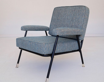 Mid Century 60s 1960s Mod Modern Green Crushed Velvet Chair