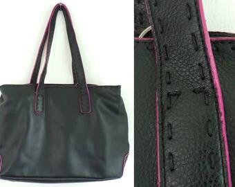 Vintage Nine West Black & Pink Leather Purse, Leather Purse, Black Leather, Shoulder Bag, Nine West, Pink Accents, Preppy Purse, Bag