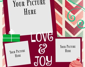 Love and Joy Christmas Card  - Printable
