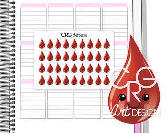 Kawaii Blood Drop / Period Tracker Stickers | Planner Erin Condren Plum Planner Filofax Sticker